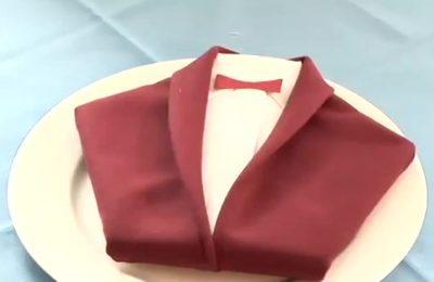 آموزش تزیین دستمال سفره به شکل پیراهن